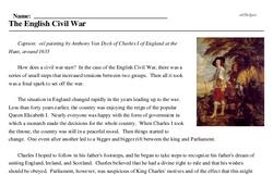 Print <i>The English Civil War</i> reading comprehension.