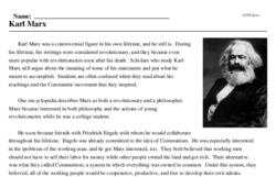 Print <i>Karl Marx</i> reading comprehension.