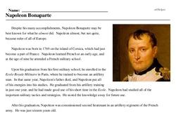 Print <i>Napoleon Bonaparte</i> reading comprehension.