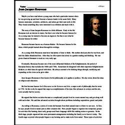 Print <i>Jean-Jacques Rousseau</i> reading comprehension.