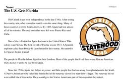 Print <i>The U.S. Gets Florida</i> reading comprehension.