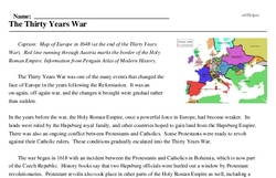 Print <i>The Thirty Years War</i> reading comprehension.