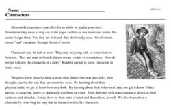 Print <i>Characters</i> reading comprehension.