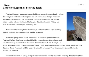 Print <i>Cherokee Legend of Blowing Rock</i> reading comprehension.