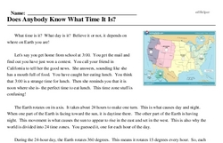 Print <i>Does Anybody Know What Time It Is?</i> reading comprehension.