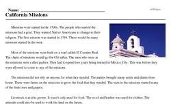 Print <i>California Missions</i> reading comprehension.