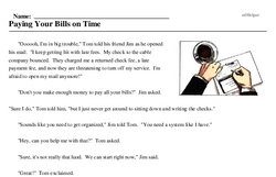 Print <i>Paying Your Bills on Time</i> reading comprehension.