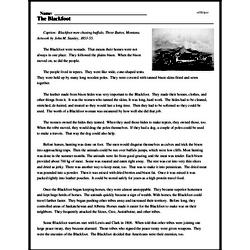 Print <i>The Blackfoot</i> reading comprehension.