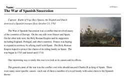 Print <i>The War of Spanish Succession</i> reading comprehension.