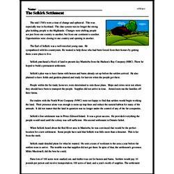 Print <i>The Selkirk Settlement</i> reading comprehension.