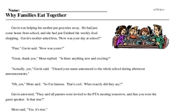 Print <i>Why Families Eat Together</i> reading comprehension.