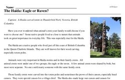 Print <i>The Haida: Eagle or Raven?</i> reading comprehension.