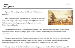 Print <i>The Ojibwa</i> reading comprehension.