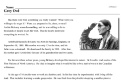 Print <i>Grey Owl</i> reading comprehension.