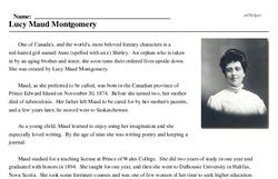 Print <i>Lucy Maud Montgomery</i> reading comprehension.