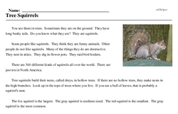 Print <i>Tree Squirrels</i> reading comprehension.