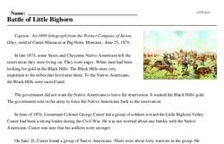 Print <i>Battle of Little Bighorn</i> reading comprehension.