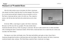 Print <i>Massacre at Wounded Knee</i> reading comprehension.