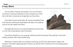 Print <i>Crazy Horse</i> reading comprehension.
