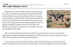 Print <i>The Cattle Industry Grows</i> reading comprehension.