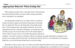 Print <i>Appropriate Behavior When Eating Out</i> reading comprehension.