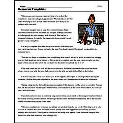 Print <i>Restaurant Complaints</i> reading comprehension.