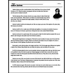 Print <i>Andrew Jackson</i> reading comprehension.