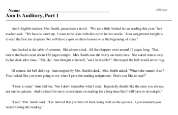 Print <i>Ann Is Auditory, Part 1</i> reading comprehension.