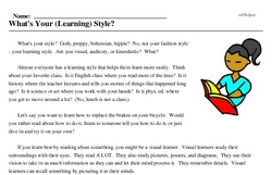 Print <i>What's Your (Learning) Style?</i> reading comprehension.