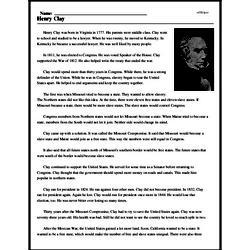 Print <i>Henry Clay</i> reading comprehension.