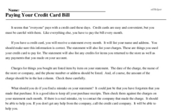 Print <i>Paying Your Credit Card Bill</i> reading comprehension.
