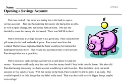 Print <i>Opening a Savings Account</i> reading comprehension.
