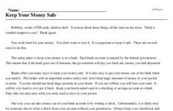 Print <i>Keep Your Money Safe</i> reading comprehension.