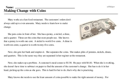 Print <i>Making Change with Coins</i> reading comprehension.