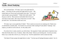 Print <i>Myths About Studying</i> reading comprehension.