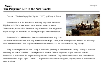 Print <i>The Pilgrims' Life in the New World</i> reading comprehension.