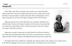 Print <i>Sequoyah</i> reading comprehension.