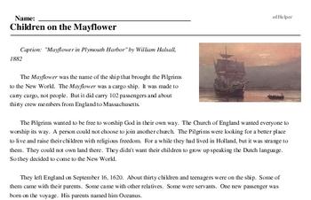 Print <i>Children on the <i>Mayflower</i></i> reading comprehension.