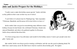 Print <i>Jake and Jackie Prepare for the Holidays</i> reading comprehension.