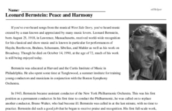 Print <i>Leonard Bernstein: Peace and Harmony</i> reading comprehension.