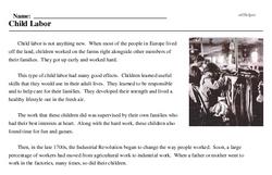 Print <i>Child Labor</i> reading comprehension.