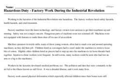 Print <i>Hazardous Duty - Factory Work During the Industrial Revolution</i> reading comprehension.