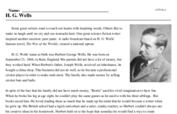 Print <i>H. G. Wells</i> reading comprehension.