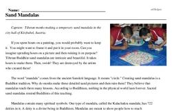 Print <i>Sand Mandalas</i> reading comprehension.