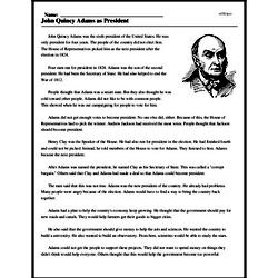 Print <i>John Quincy Adams as President</i> reading comprehension.