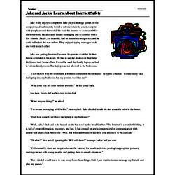 Print <i>Jake and Jackie Learn About Internet Safety</i> reading comprehension.