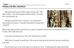 Print <i>Tobacco in the Americas</i> reading comprehension.