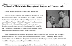 Print <i>The Sound of Their Music: Biography of Rodgers and Hammerstein</i> reading comprehension.