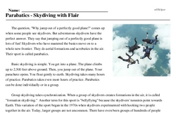 Print <i>Parabatics - Skydiving with Flair</i> reading comprehension.