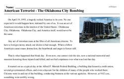 Print <i>American Terrorist - The Oklahoma City Bombing</i> reading comprehension.